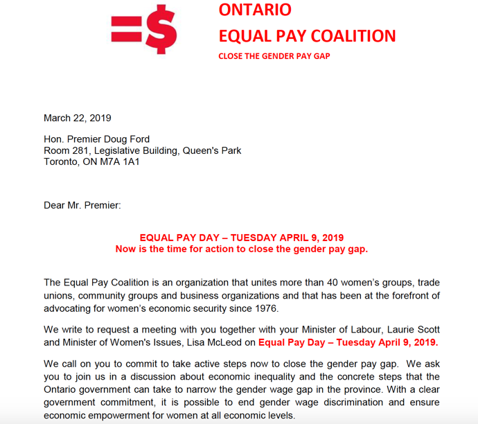 Equal Pay Day Ontario